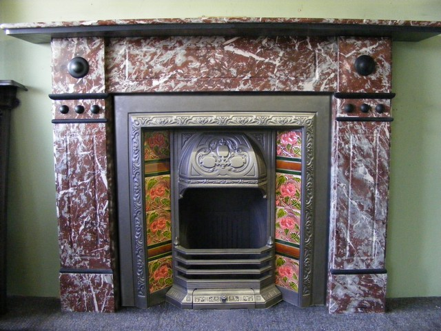 Victorian Rouge Marble Surround Victorian Tiled Insert