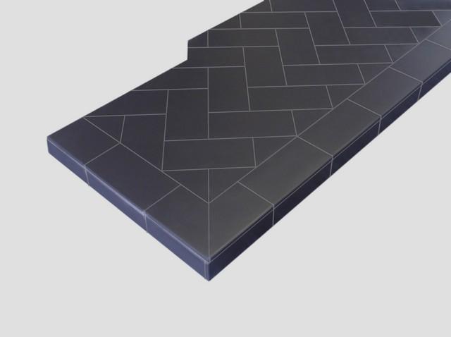 Black Herringbone Quarry Tiled Hearth