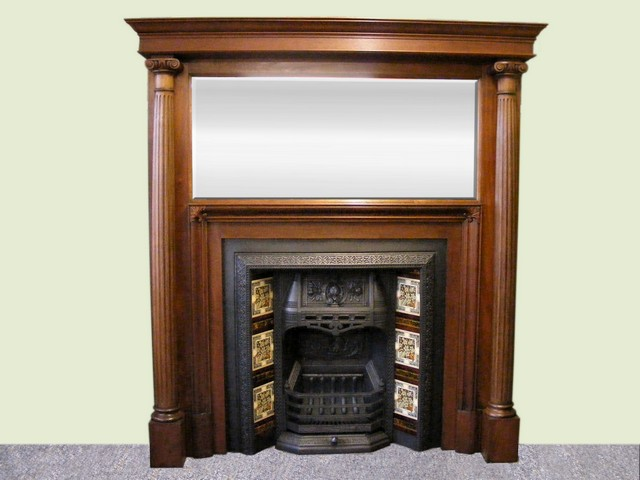 Victorian Mahogany Fire Surround And Victorian Tiled Insert