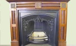 Victorian mahogany fire surround and Victorian register grate