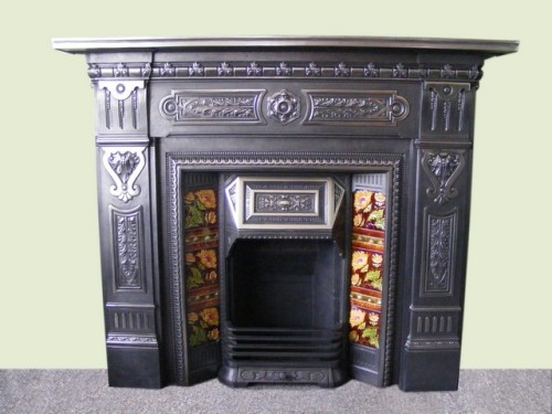Victorian cast iron fire surround and Victorian tiled insert